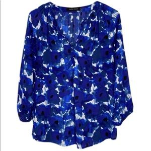 Ivanka Trump Blue White Watercolor Floral Blouse
